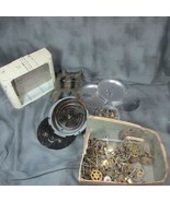 Lot of Vintage Clock Parts - Gears, Works, Case, More for Repair or Stea... - $22.43