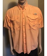 Mens Columbia PFG Performance Fishing Gear Medium Peach Short Sleeve Shirt - $16.44