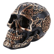 Pacific Giftware Celtic Pattern Cross Black and Gold Collectible Skull H... - $14.84