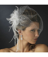 Jeweled Feather Fascinator with Birdcage Veil Bridal Hairpiece Ivory - $51.48