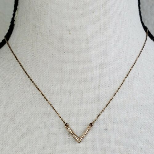 "Primary image for Michael Kors Rose Gold Tone Arrow Necklace Rhinestone 18"" Long Chain V"