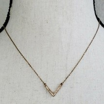 "Michael Kors Rose Gold Tone Arrow Necklace Rhinestone 18"" Long Chain V  - $29.99"