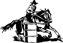 Barrel Racing Cowgirl Girl Rodeo Horse Car Truck Window Wall Vinyl Decal... - $4.74+