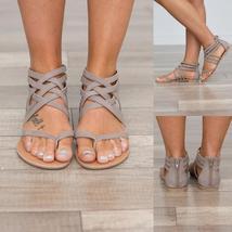2017 Women s Fashion Bohemian Style Zipper Sandals Open Toe Gladiator Flats