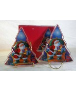 Gorham Set Of 2 Santa Tree Shaped Crystal Candy Dishes In Box - $8.31
