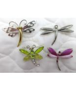 Dragonfly Pin Brooch Vtg 2 SIGNED Enamel Rhinestone Two Tone Lot of 4   - $15.99