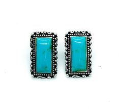 Vintage Sterling Silver Rectangular Scroll Motif Lab Created Turquoise E... - $53.99