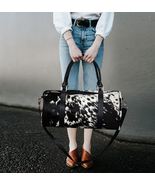 Hair Cowhide Fur Leather Duffle Bag Black White Large Travel Tote Pony H... - $171.00+