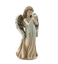 Pastel Girl Angel Holding Dove Garden Statue Outdoor Decor - $36.99
