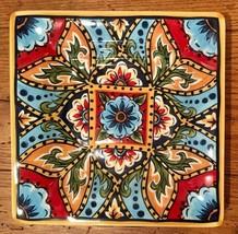"Tabletops U Unlimited LA BARCA 8 1/8"" Square Salad Plate Multicolor Paisley - $23.36"