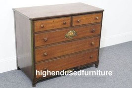 """JOHN WIDDICOMB 41"""" Country French Floral Decorated Five Drawer Chest - $159.99"""