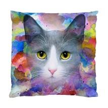 Pillow case Throw Pillow Cushion Case Cat 612 grey gray art painting by L.Dumas - $24.99+