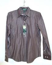 LAUREN Ralph Lauren LRL 100% Cotton Blouse Shirt Brown & White M NWT$79 - $39.00