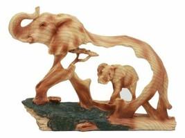 "Ebros Safari Bush Elephant And Baby Walking In The Jungle Statue 9""L Fau... - $27.99"