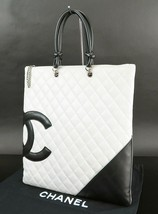 04ee2707632e71 Auth CHANEL Cambon Line CC Quilted White and Black Leather Tote Bag Purse  #31755 -