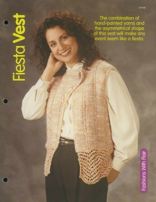 Primary image for Fiesta Vest Womens Sz P-XL HoWB Knitting Pattern Leaflet NEW