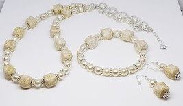 Ivory Glass Pearls/Ceramic Cube Ivory & Tan Beaded Trio Set - $35.00