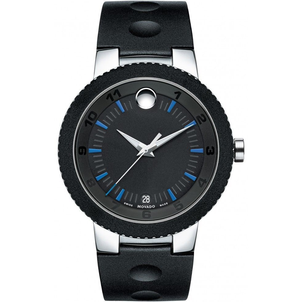 Movado Edge Stainless Steel Black Dial Silicone Strap Mens Watch 0606927