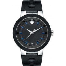 Movado Edge Stainless Steel Black Dial Silicone Strap Mens Watch 0606927 image 1