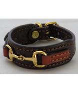 Bordeaux Chestnut Leather Brass Snaffle Horse Bit Equestrian Bracelet - £32.34 GBP