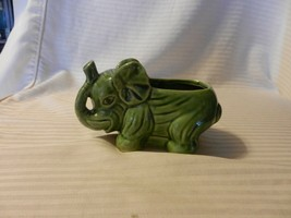Small Green Ceramic Elephant Figurine With Trunk Up for Flowers or Trinkets - $39.60