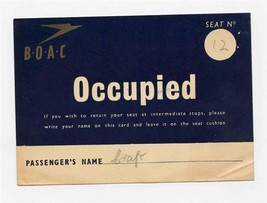 B O A C Seat Occupied Card 1946 Place Card British Overseas Airways Corp... - $87.12