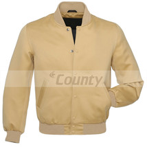 Baseball Letterman College Varsity Bomber  Jacket Sports Wear Ivory Crea... - $49.98+