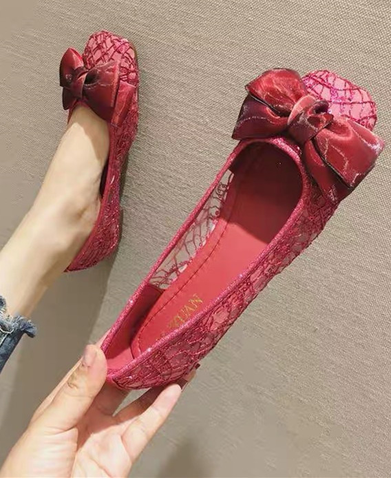 Primary image for Red Lace Wedding Shoes,Red See Through Bridal Shoes,Red Lace flats shoes
