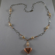 .925 SILVER RHODIUM NECKLACE WITH PINK PEARLS, PINK CRYSTALS AND HEART PENDANT image 2
