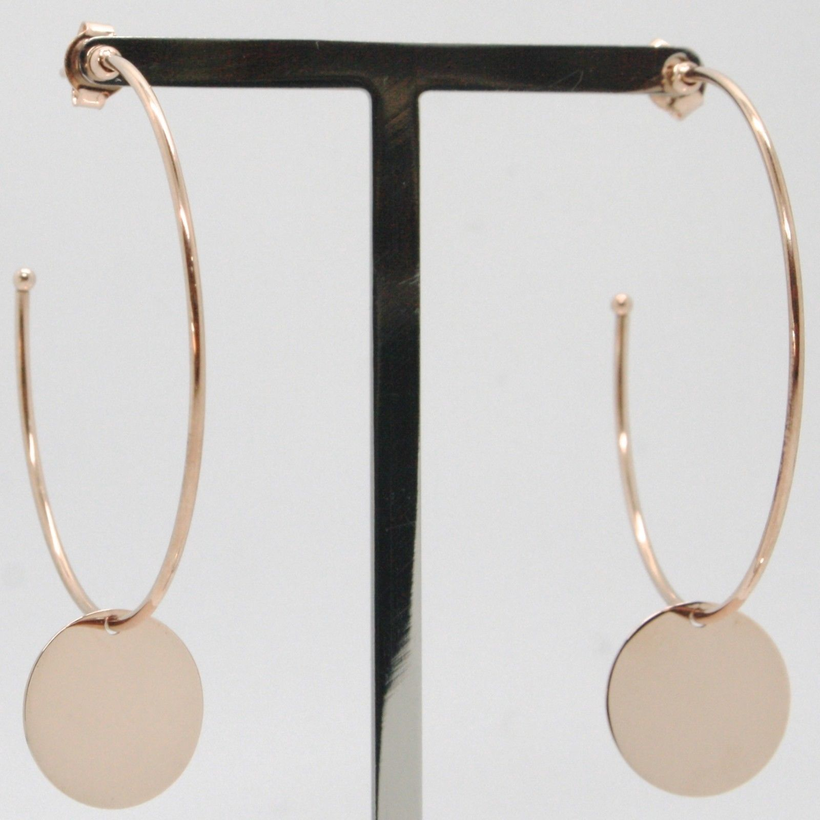 18K ROSE GOLD PENDANT CIRCLE HOOPS EARRINGS WITH FLAT DISC, SMOOTH MADE IN ITALY