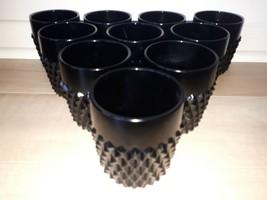 "10 VINTAGE INDIANA GLASS BLACK ""TIARA"" DIAMOND POINT LOWBALL DRINKING GL... - $60.60"