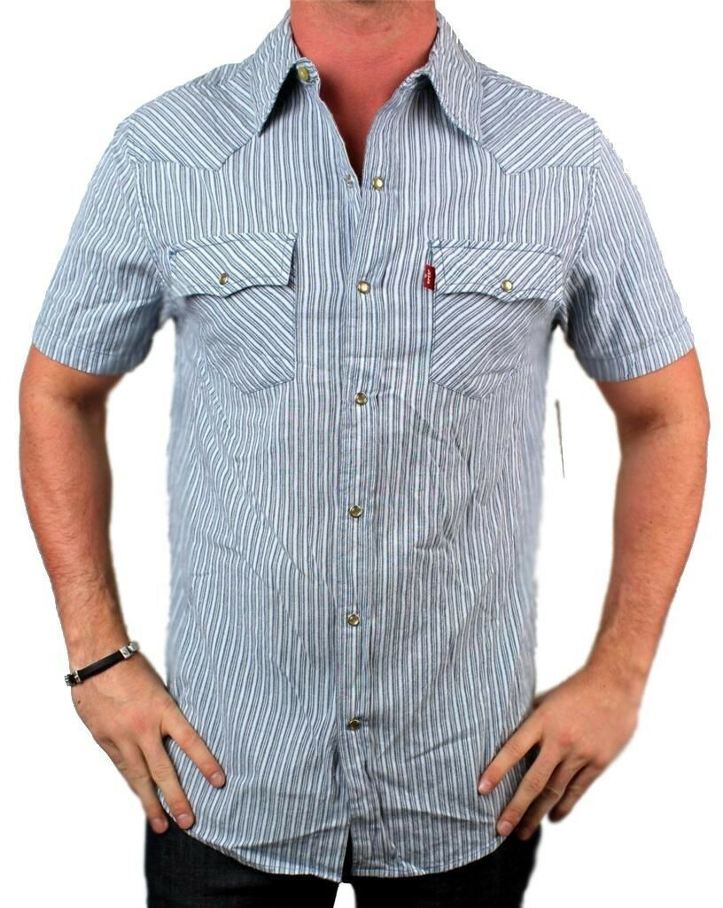 NEW NWT LEVI'S MEN'S COTTON CLASSIC SHORT SLEEVE BUTTON UP DRESS SHIRT 8150428