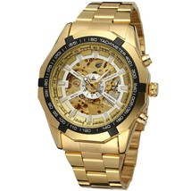 Men Classic Skeleton Automatic Mechanical Watch gold skeleton vintage wa... - $46.78 CAD
