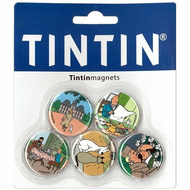 Tintin Set of 5 small decorative fridge magnets Official Tintin product