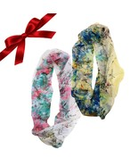 2pc Floral Infinity Scarves Set Sheer Wraps Shawl Christmas Gift Stocking - €8,71 EUR
