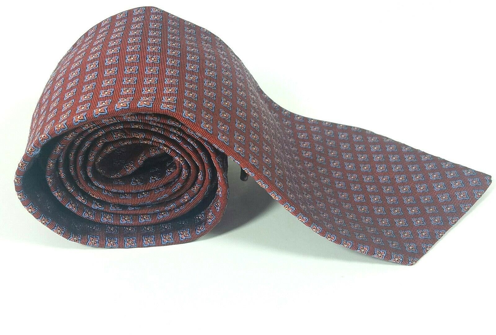 Brooks Brothers Makers Mens Neck Tie 100% Silk Burgundy Red Floral Made in USA