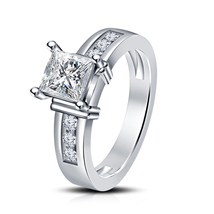 14K White Gold GP 925 Silver Solitaire With Accents Princess Cut CZ Wedding Ring - $78.30