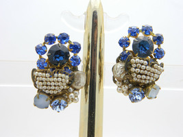 MIRIAM HASKELL Blue Rhinestone Faux Pearl Clip On Earrings Vintage - $148.49
