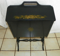 Black Lacquer Handpainted Sewing Cabinet Stand  (DR27) - $349.00