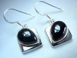 Black Onyx Sideways Teardrop Dangling 925 Sterling Silver Dangle Earring... - $22.76