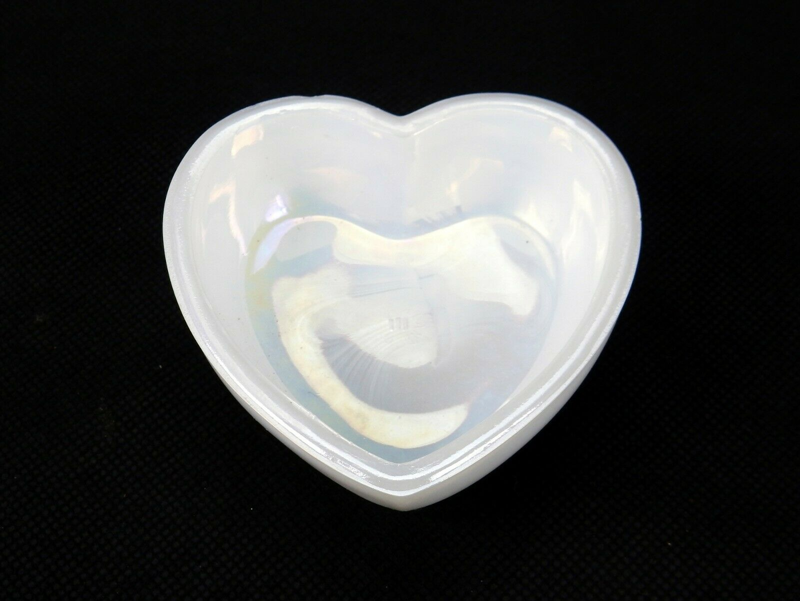 "Primary image for Heart Shaped Dresser Trinket Dish, Westmoreland Iridescent Milk Glass, 3"" x 3"""