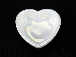 Heart Shaped Dresser Trinket Dish, Westmoreland Iridescent Milk Glass, 3... - $9.75