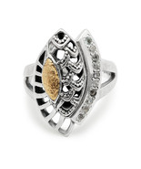 DENI 18K Yellow Gold Hammer & 925 Sterling Silver Ring w/ White Topaz Paved - $118.00