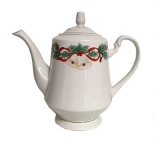Sango Porcelain Holiday Tea Coffee Pot Pitcher Noel Christmas Bells Holiday - $34.64