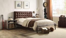 Acme 26210Q Brancaster Vintage Brown Leather Button Tufted Queen Bedroom Set 3P