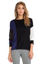 Sanctuary Contrast Color Block Offset Pullover Knit Top Mesh Inset Size ... - €15,28 EUR