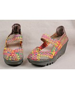 ITALINA RAINBOW BASKET WEAVE TOP STRETCH STRAP WEDGE MARY JANES 7.5 WOME... - $30.20