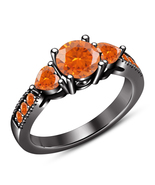 Orange Sapphire Solid 925 Silver Black Gold Finish Three Stone Engagemen... - $85.99