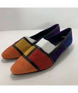 Vintage Colorblock Pointed Toe Suede Flats Passports New Never Worn 6.5 - $44.52