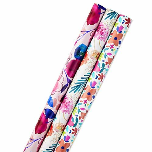 Hallmark All Occasion Reversible Wrapping Paper Feminine Florals, Pack of 3, 120 - $20.06